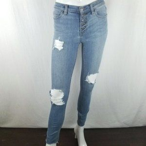 Free People Button Fly Skinny Jeans Light Wash 26